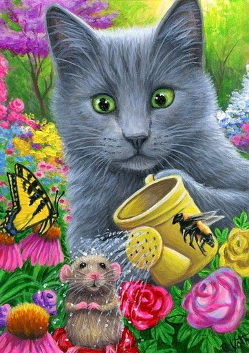ACEO original cat mouse watering flowers garden spring painting art | Art, Paintings | eBay!
