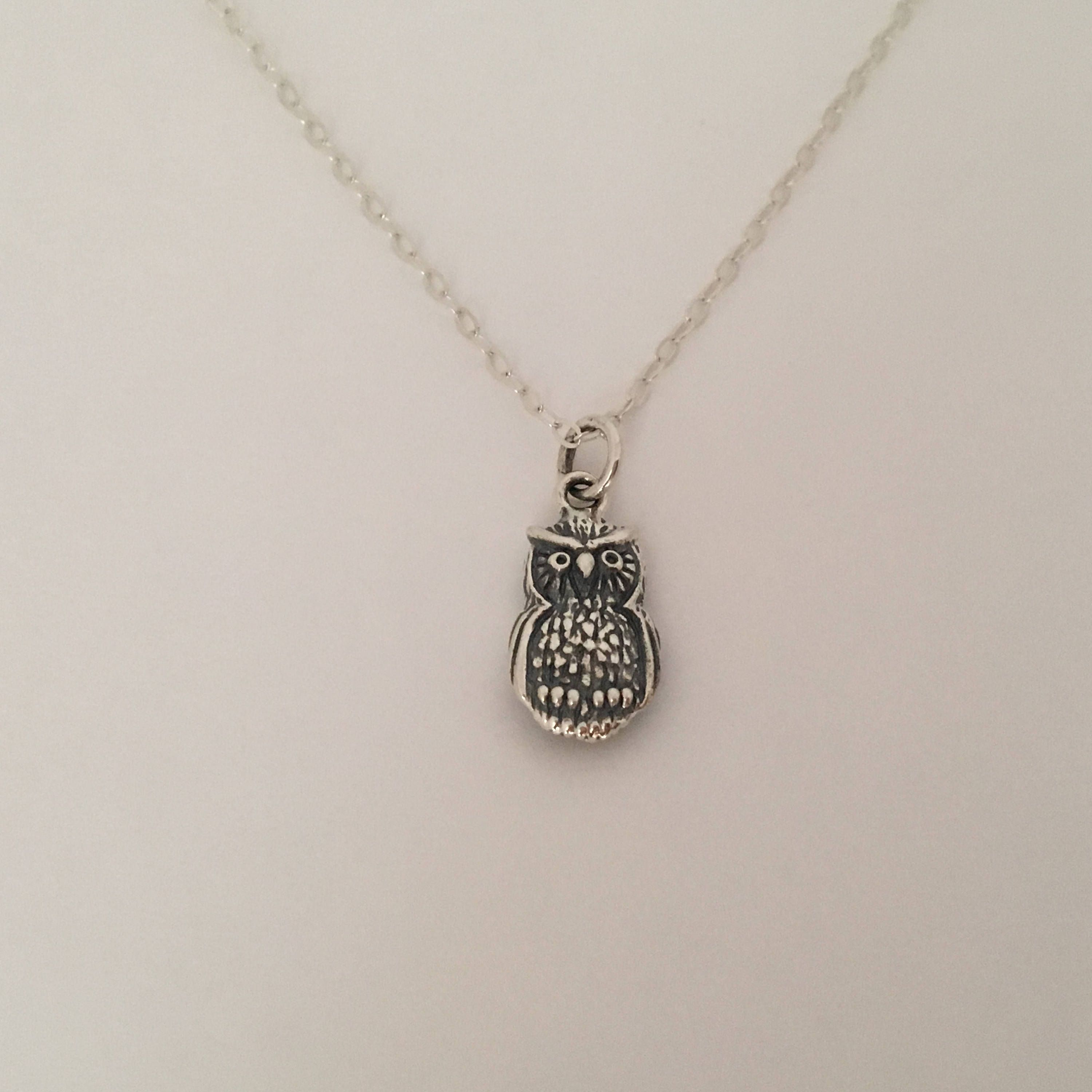 Sterling silver Owl necklace, owl charm necklace, wise owl pendant, silver owl, owl jewelry by ArujaDesigns on Etsy