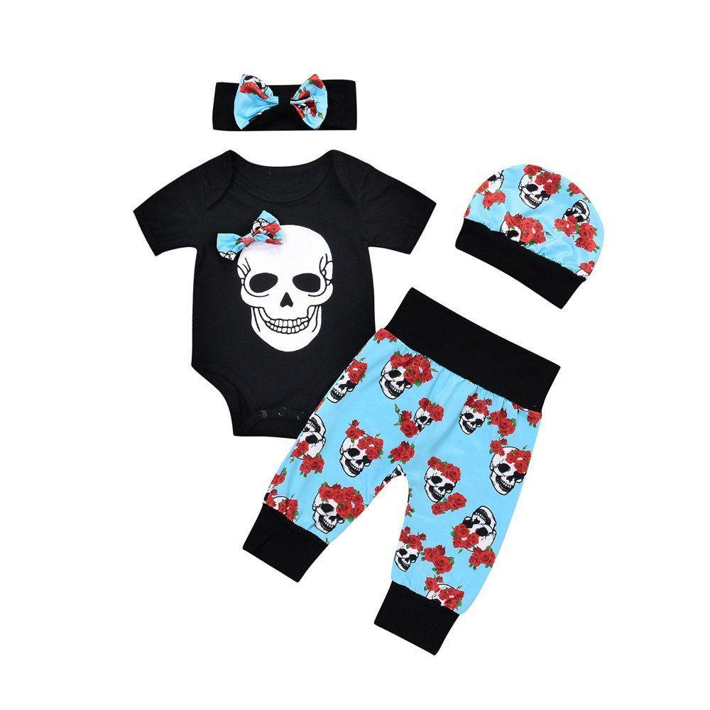 2Pcs Halloween Newborn Baby Boys Girls Skull Flower Romper Jumpsuit Outfits Set
