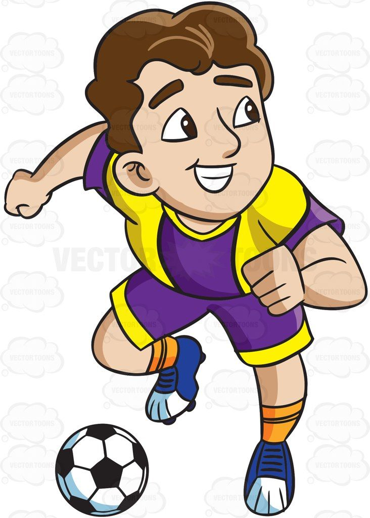 A Male Soccer Athlete Charges To Make A Goal Vector Graphics Vectortoons Com Character Design References Cartoon People Cartoon