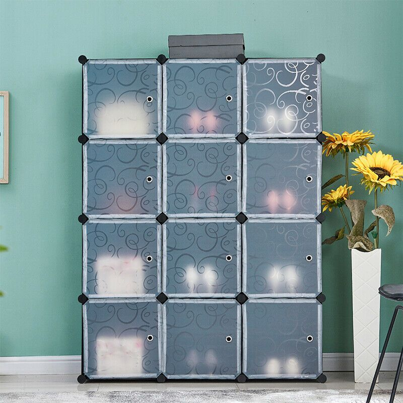 12 Cubes Diy Storage Unit Plastic Shelf Home Organizer Display Elegant Black New 55 99 Cube Shelves In 2020 Plastic Storage Units Diy Storage Unit Plastic Shelves