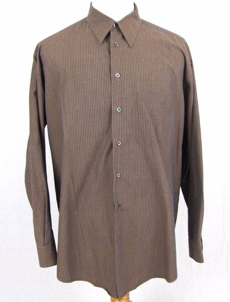 61419b2907b Ermenegildo Zegna SOFT Dress Shirt 17.5 XL Striped 100% Cotton Straight  Collar  ErmenegildoZegna