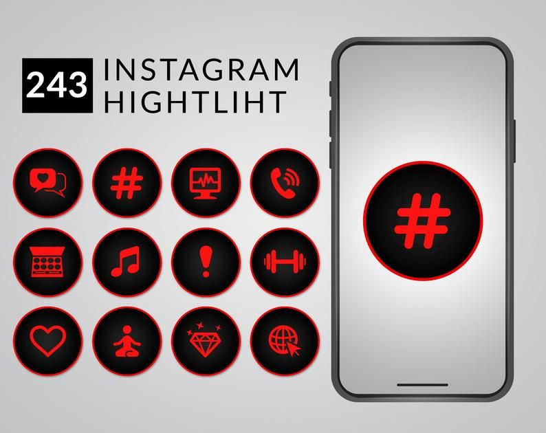 Red and black Instagram Highlight Covers Instagram