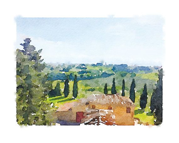 Tuscany Printable Artwork Chianti Watercolor Tuscany Watercolor