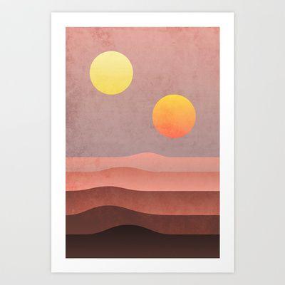 Tatooine Sunset Art Print By Dennisthebadger Sunset Art Abstract Art Prints Vintage Art Prints