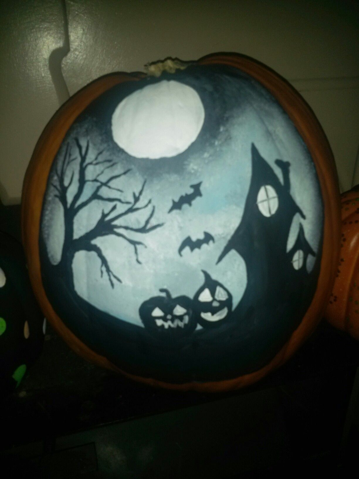 Spooky Scene Painted Pumpkin Pumpkin Halloween Decorations Halloween Pumpkins Painted Spooky Pumpkin
