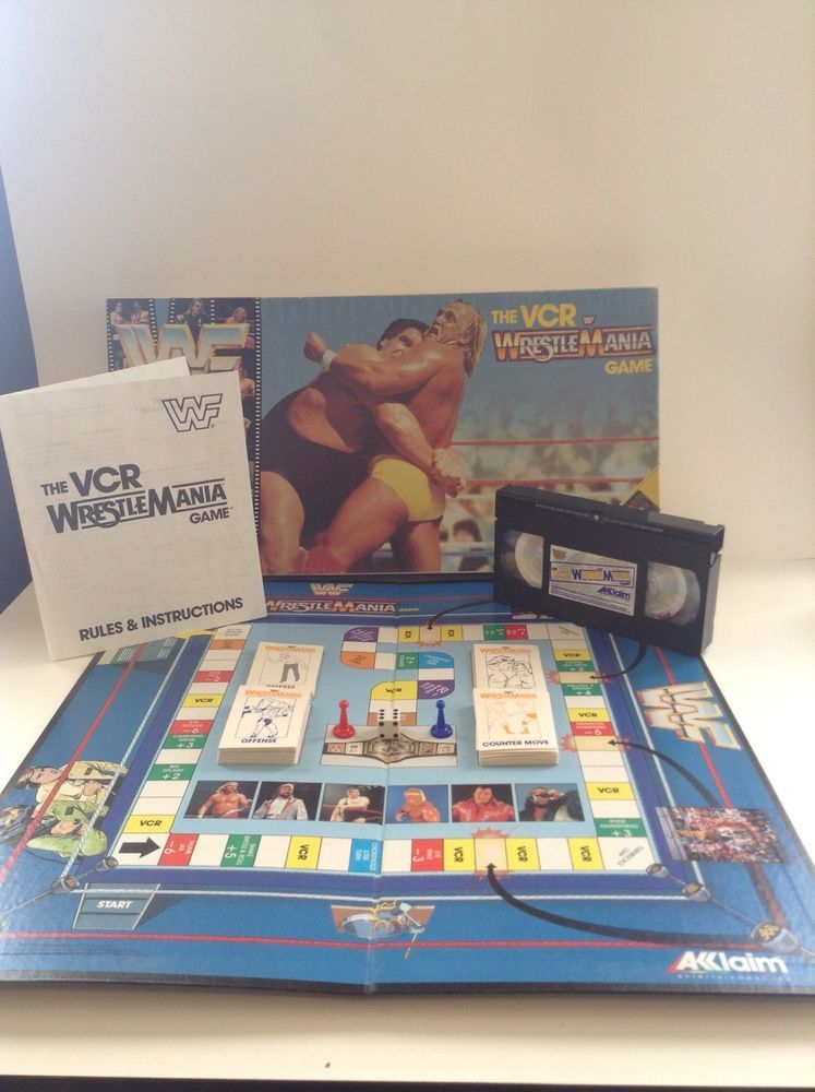Vintage Wwe Wwf Wrestling Wrestlemania Vcr Complete Family Board Game Aklaim Family Board Games Games Board Games