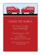 Fire Trucks Twins Birthday Invitation - Custom Twins Birthday Invitations from the leader in Twins & Multiples stationery products - www.amyscardcreations.com - Cards as low as $1.15 - Thank you for shopping with me and supporting small business!