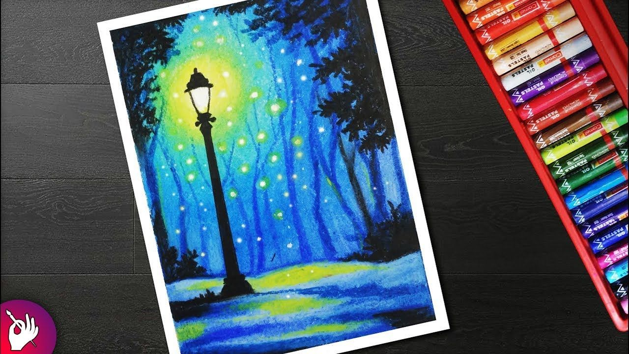 How To Draw Street Light Landscape Drawing For Beginners -5158