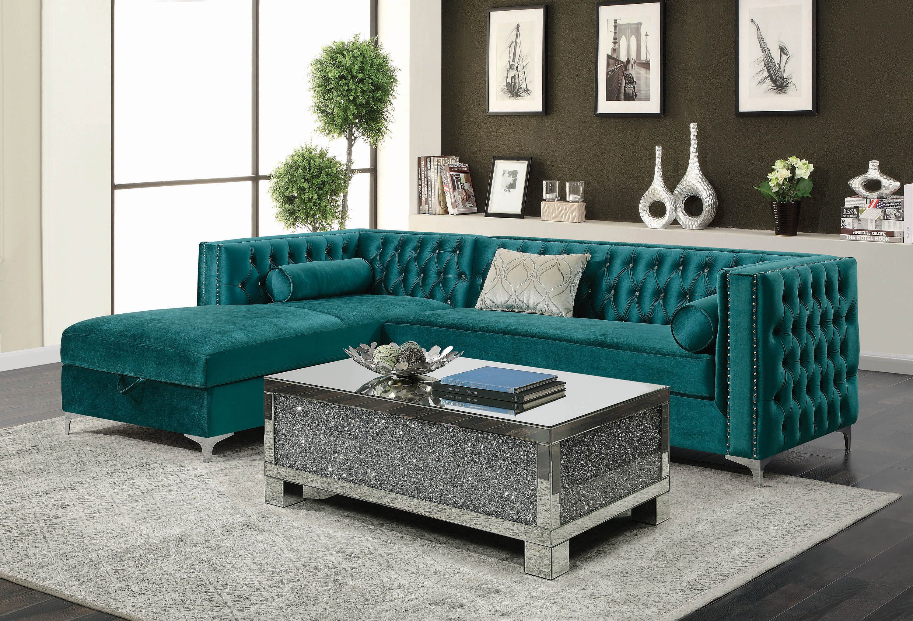 Contemporary Teal Velvet And Chrome Storage Sectional Including Pillows Living Room Sets Furniture Fabric Sectional Sofas Living Room Sectional