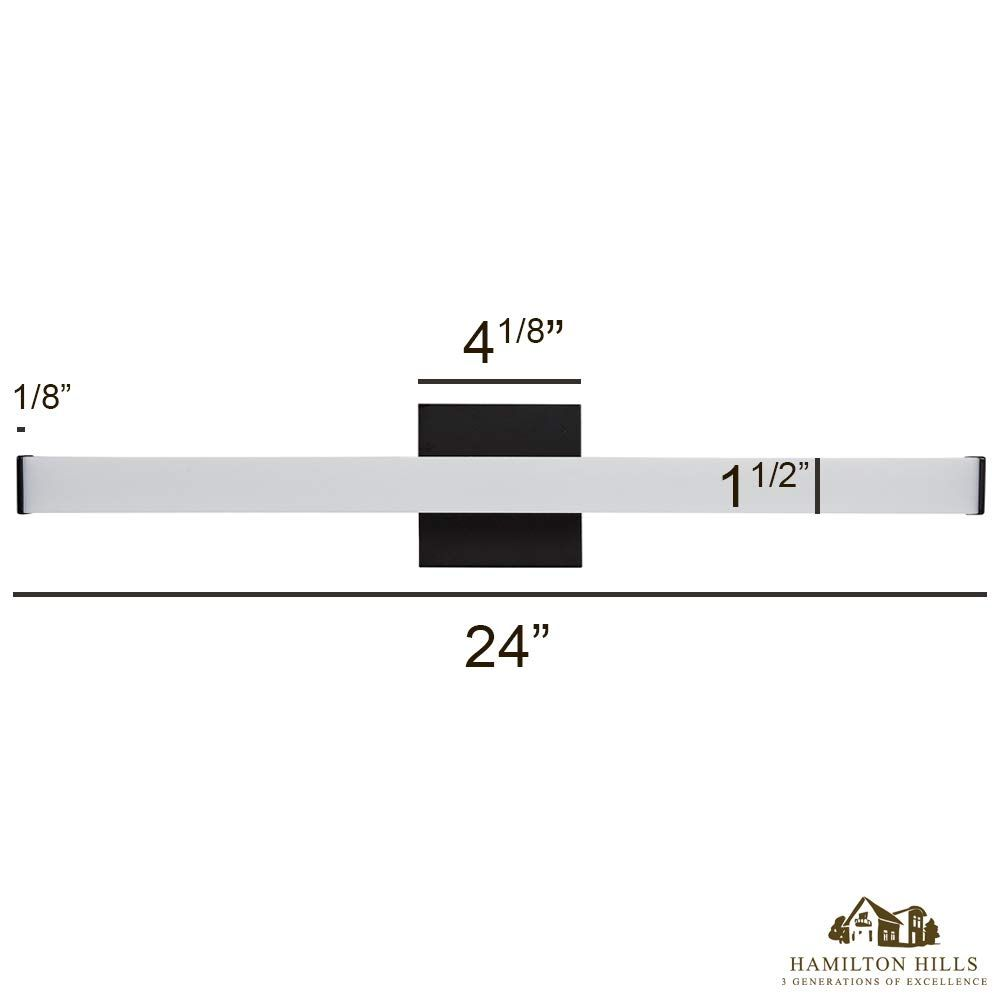 Photo of 24 Thin Rectangular Bar Modern LED Vanity Light Black Bathroom Fixture