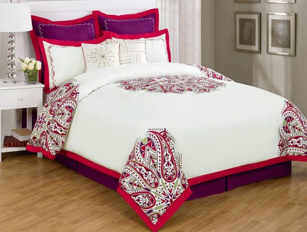 Comforter Set 8PC Queen Paisley Red White Purple Bedding Pillow Modern FREE Ship