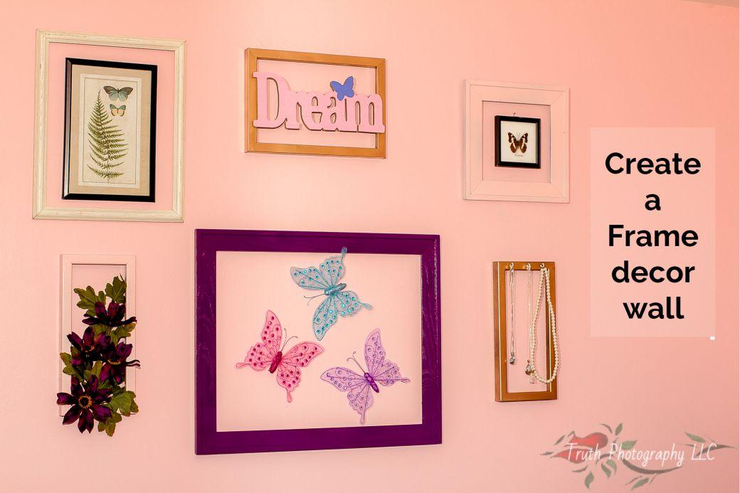 Create a Frame decor wall | Butterfly themed bedroom | Frame focal ...