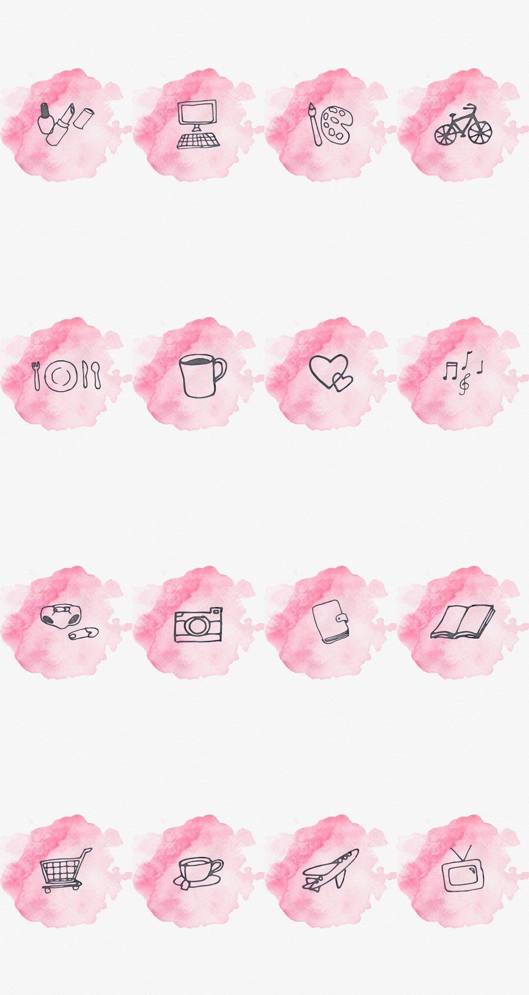 Instagram Story Highlight Cover Set Of 16 Pink Watercolor Nabor Znachkov Rozovye Momenty Ikonki Socialnyh Setej