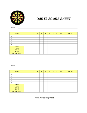This Darts Score Sheet Has Space To Record Your Scores For