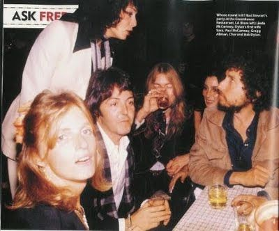 Linda and Paul McCartney, Sara Lownds, Bob Dylan, Gregg Allman, and Cher.