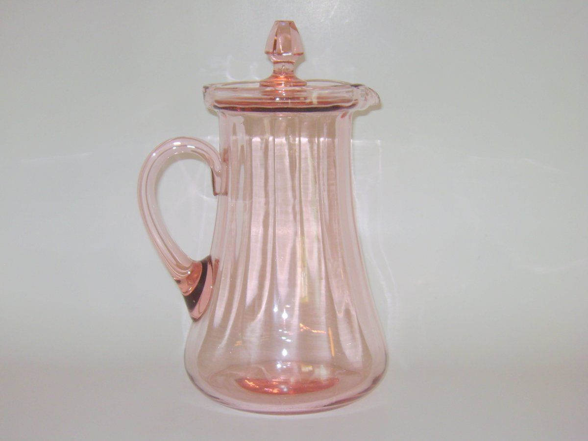 Vintage pink depression glass round platter 12 quot ribbed platter - Vintage Pink Depression Glass Pitcher With Lid