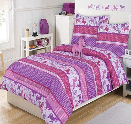 4 piece kids cute unicorn comforter twin girls adorable little pony bedding for children purple white
