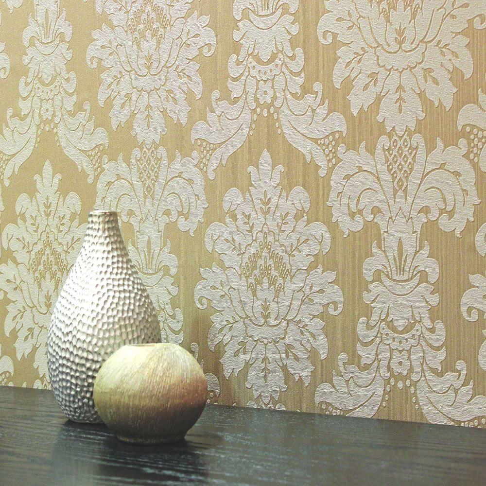 New Luxury Arthouse Messina Damask Heavyweight Vinyl Textured Wallpaper Mocha  Amazon Textured Wallpapervintage