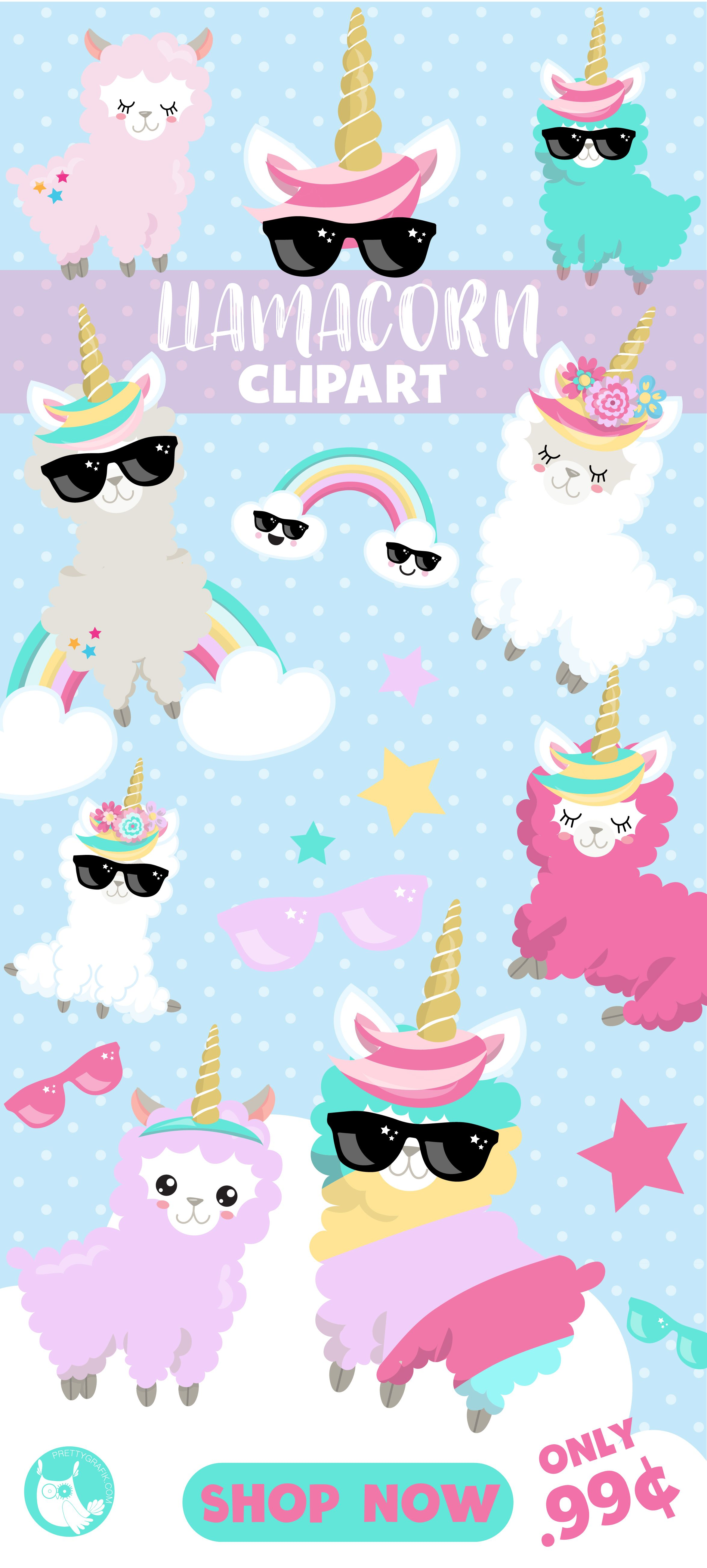 llamacorn llama clipart are only 99 and are great to use as party decorations for a llama themed birthday party  [ 2350 x 5209 Pixel ]