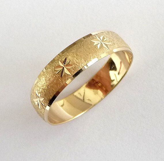 gold wedding ring men and womens wedding band with stars via etsy - Gold Wedding Rings For Women