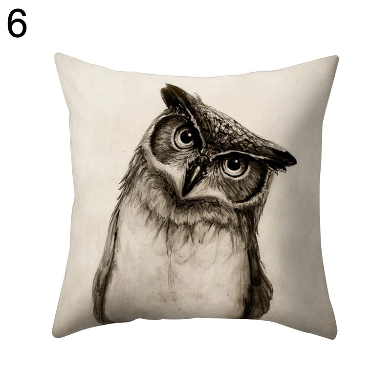 Home Fashion Cute Owl Pillow Case Soft Square Shape