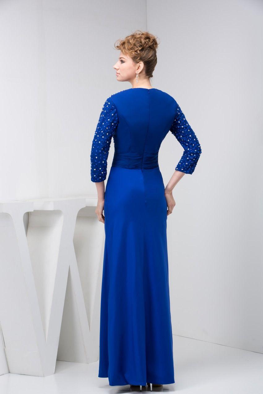 Elegant blue three quarter sleeve mother of the bride dress mother