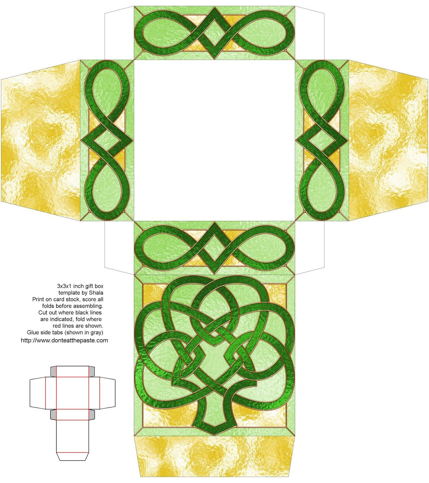 Shamrock Stained Glass Printable Box- with a blank version to color ...