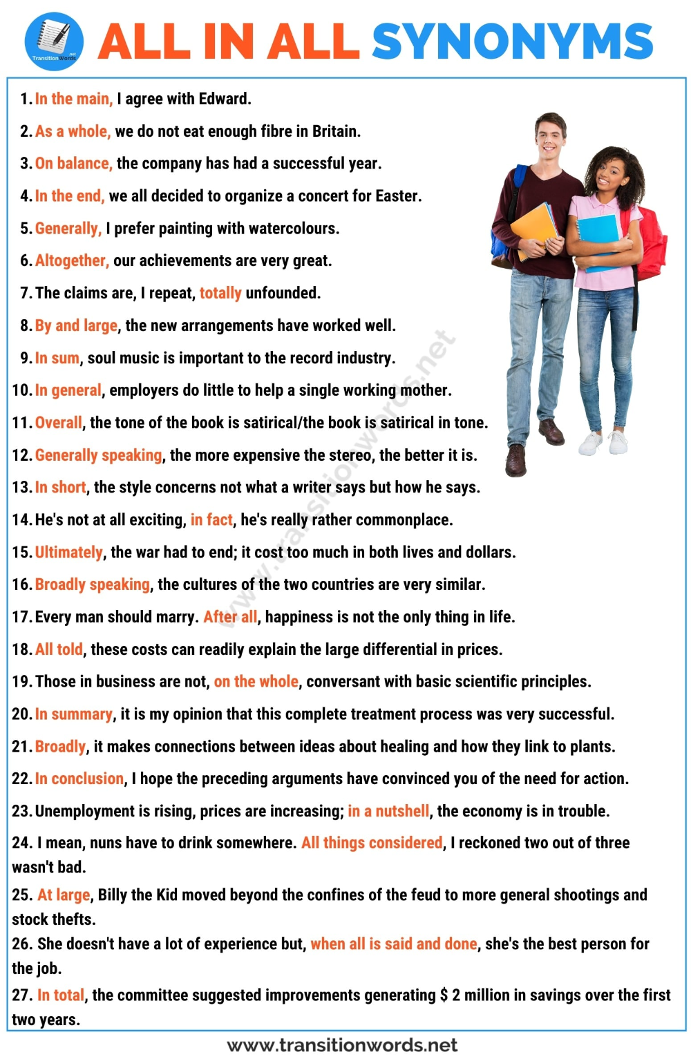 All In All Synonym List Of 25 Synonyms For All In All With Useful Examples Transition Words Transition Words Essay Writing Skills Words