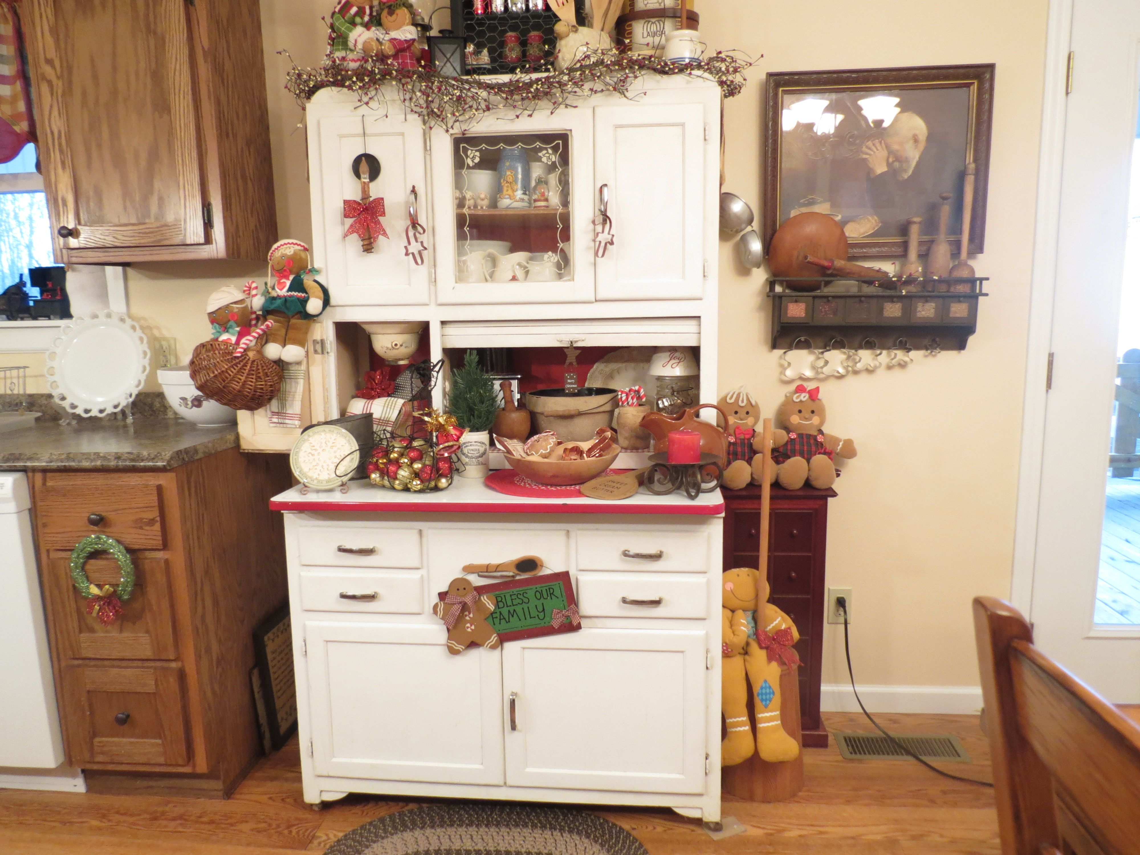 My Hoosier Cabinet Decorated For Christmas This Belonged To Husbands Grandmother Originally I