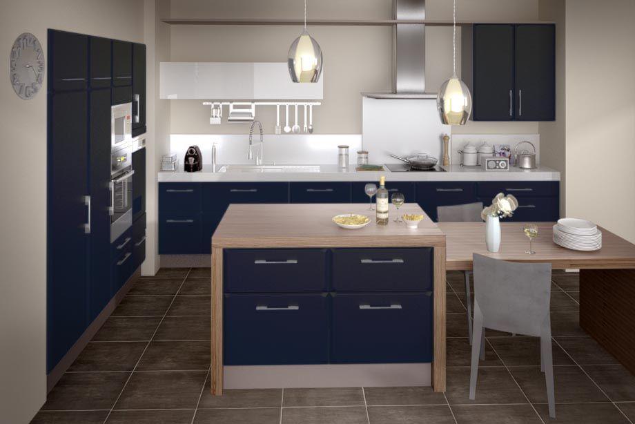 Cuisine Carat Bleu Nuit Cuisine Moderne Design Petit Stockage De Cuisine Cuisine Moderne