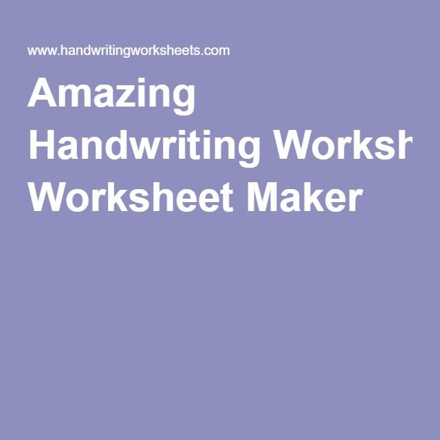 Amazing Handwriting Worksheet Maker | Adult Education | Pinterest ...