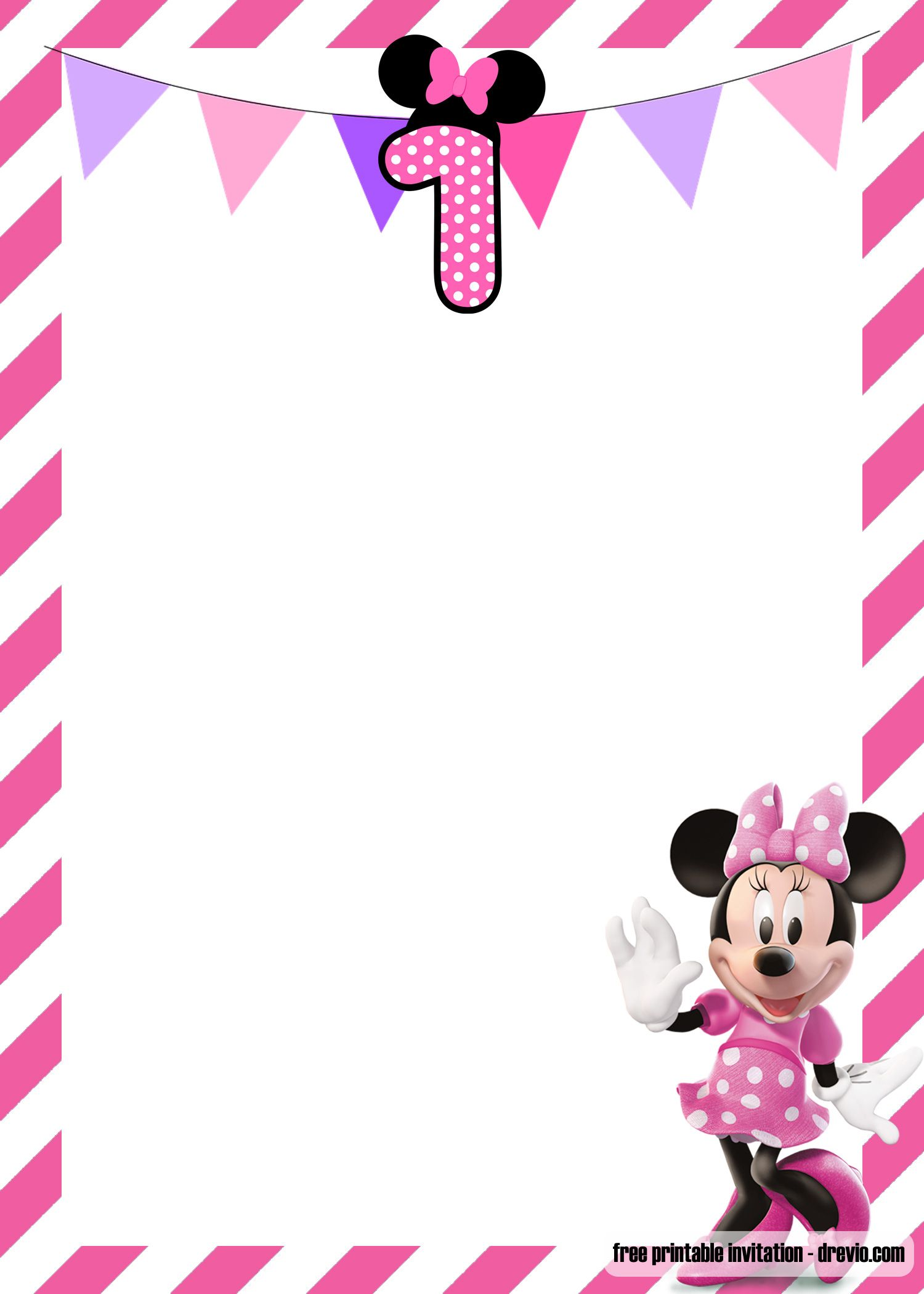 Free Minnie Mouse 1st Birthday Invitations Templates Minnie Mouse Invitations Minnie Mouse Birthday Invitations Minnie Mouse 1st Birthday