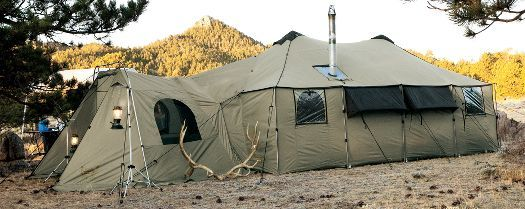 Cabela's Ultimate Alaknak™ Tent    Sidewall condensation vents with hook-and-loop closures  Three multi-panel windows  Available in three sizes  Rugged, waterproof X-Treme Tent Cloth  10 perimeter tent poles add rigidity in high winds  Attached awning