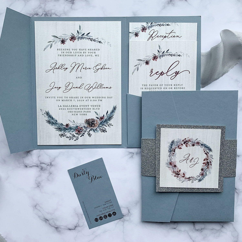 Beautiful Dusty Blue Winter Wedding Invitation Samples When You Order Custom Wedding Wedding Invitation Samples Winter Wedding Invitations Blue Winter Wedding
