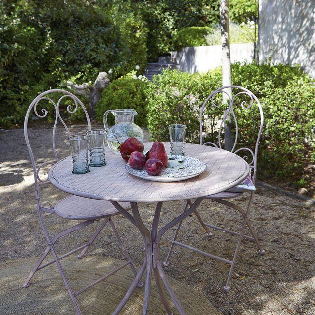 Image Table ronde de jardin en métal rose poudré La Redoute ...