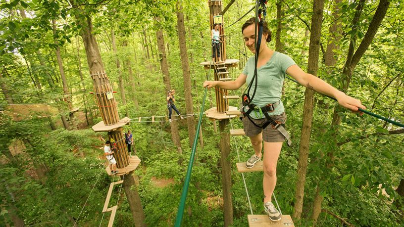 Go Ape Ropes Course In Raleigh Nc Love To Do This With The Boys A Woman Crosses An Obstacle At Go Ape In Kentu Adventure Park Zipline Adventure Go Ape