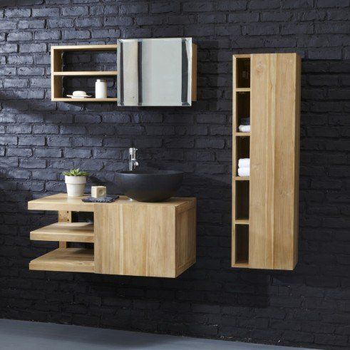 Meuble Salle de bain suspendu en Teck 90 Typo Bathroom designs - Sol Teck Salle De Bain