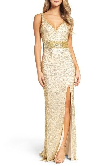 Free shipping and returns on Mac Duggal Beaded Mesh Gown at Nordstrom.com. Beaded latticework gleams all around this sultry-fit gown that's classic yet memorable.