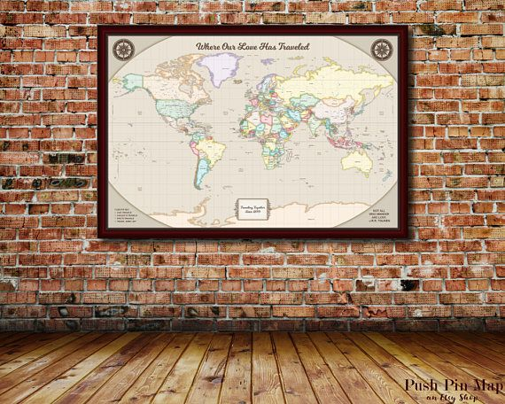 1st year anniversary gift detailed world push pin map 24x36 efk world travel map world map wall art world map push pin map art personalized map of world map canvas travel gifts travel map pushpin world gumiabroncs Image collections