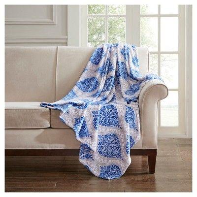 Indigo Blue Damask Throw Blankets 60x70 Plush Throw Home