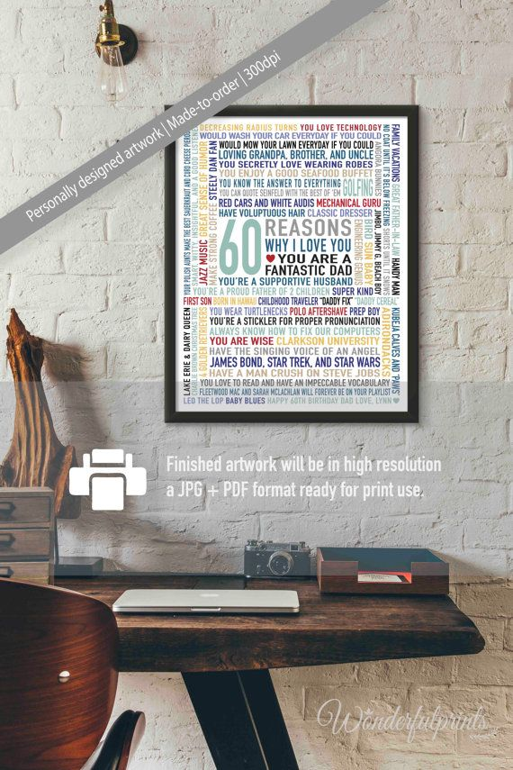 Gifts For Dad 60th Birthday Gift 60 Reasons By WonderfulPrints