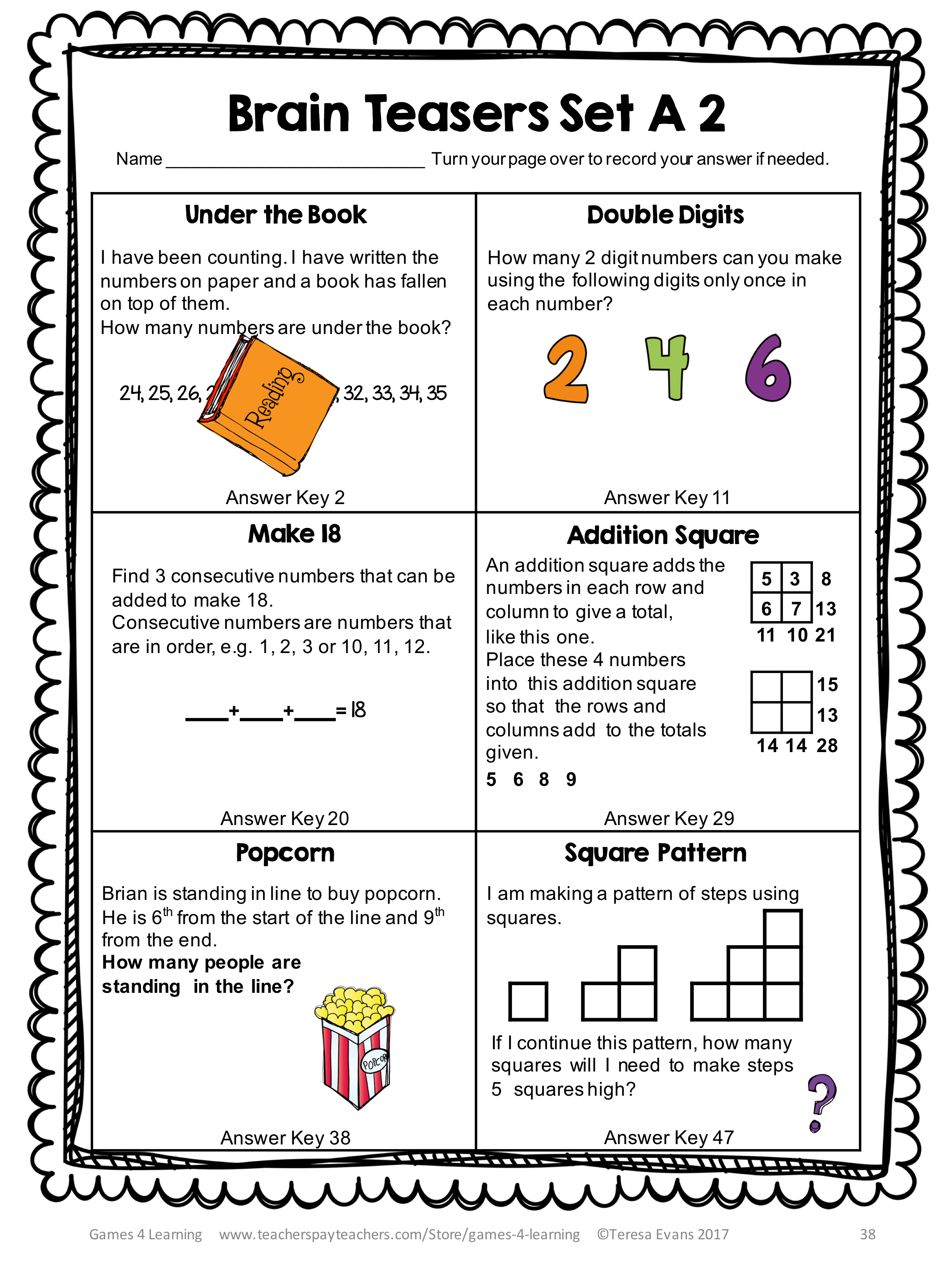 small resolution of Printable Math Problems and Math Brain Teasers Cards from Games 4 Learning  contains 54 printable cards in large size