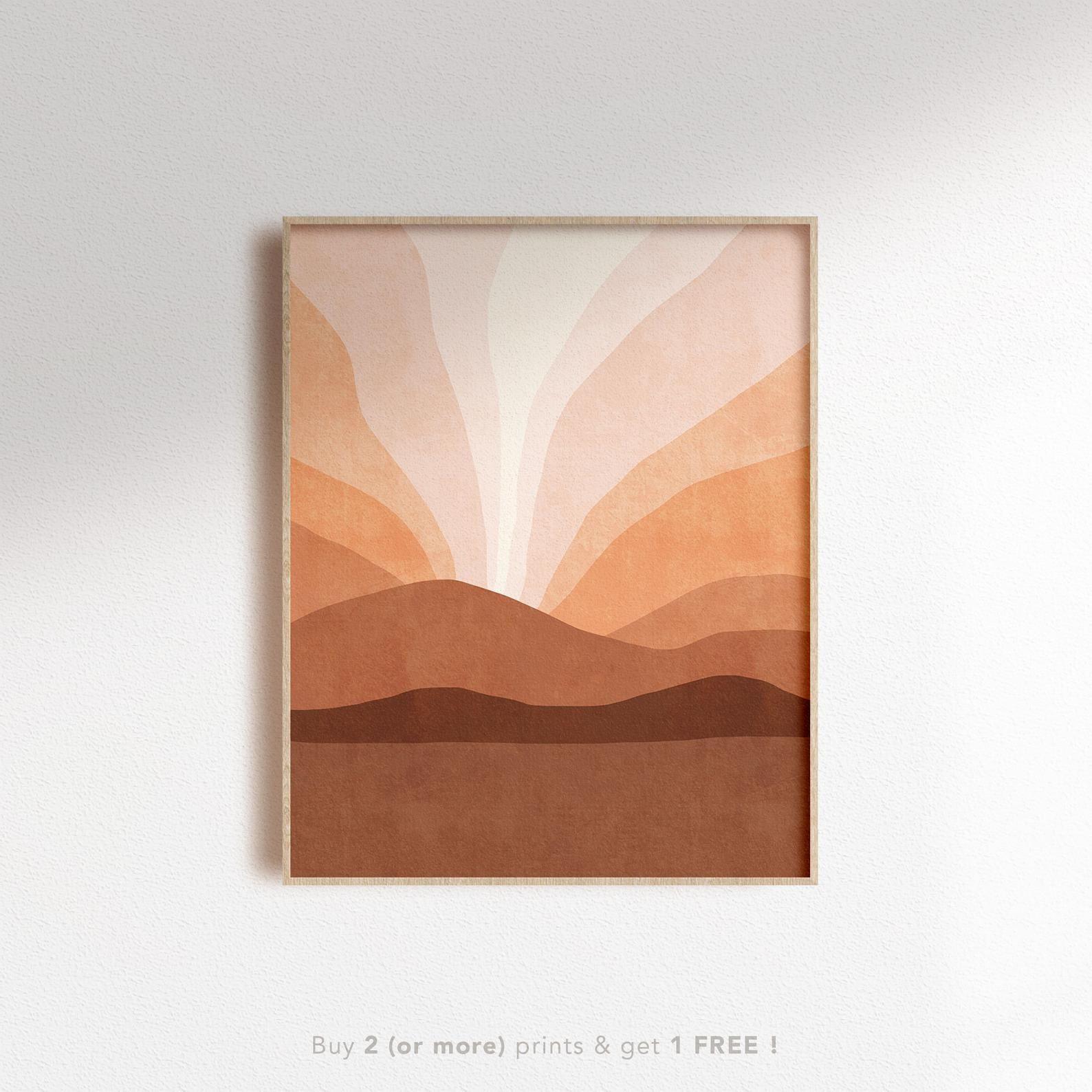 Abstract Ombre Mountain Sunset Printable Wall Art Neutral Etsy Boho Painting Boho Wall Art Diy Canvas Art