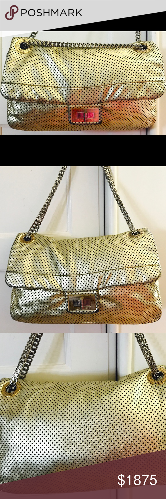 6e4637224d66 LAST DISC Chanel Gold Lambskin Flap Perforated Bag