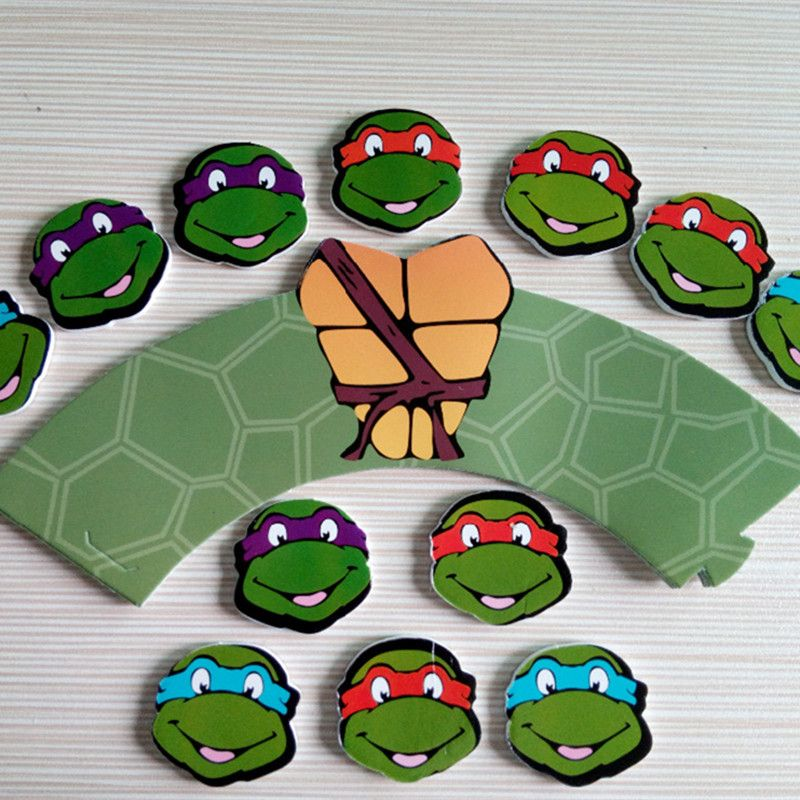 Find More Cake Decorating Supplies Information About 24pcs Teenage Mutant Ninja T Ninja Turtle Cupcakes Kids Birthday Party Decoration Cake Decorating Supplies