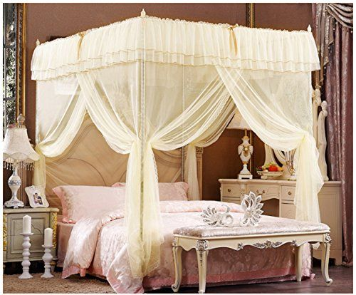 amazoncom beige lace luxury four corner square princess bed canopy fullqueen home kitchen
