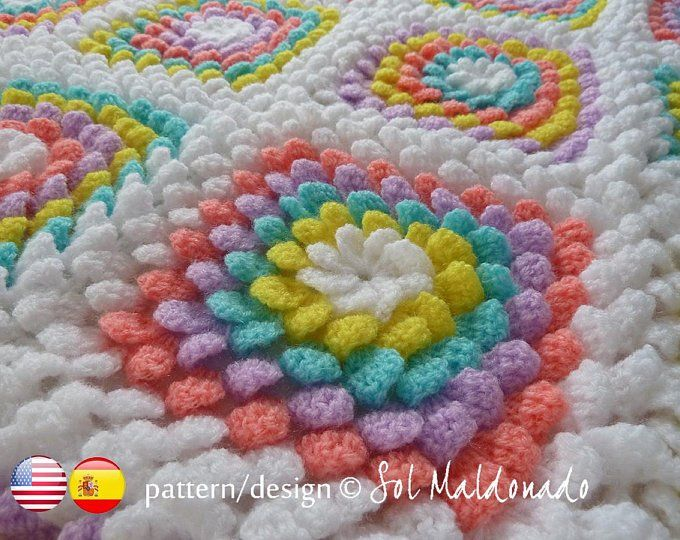 Blanket crochet pattern - Yummy Flower granny square ...
