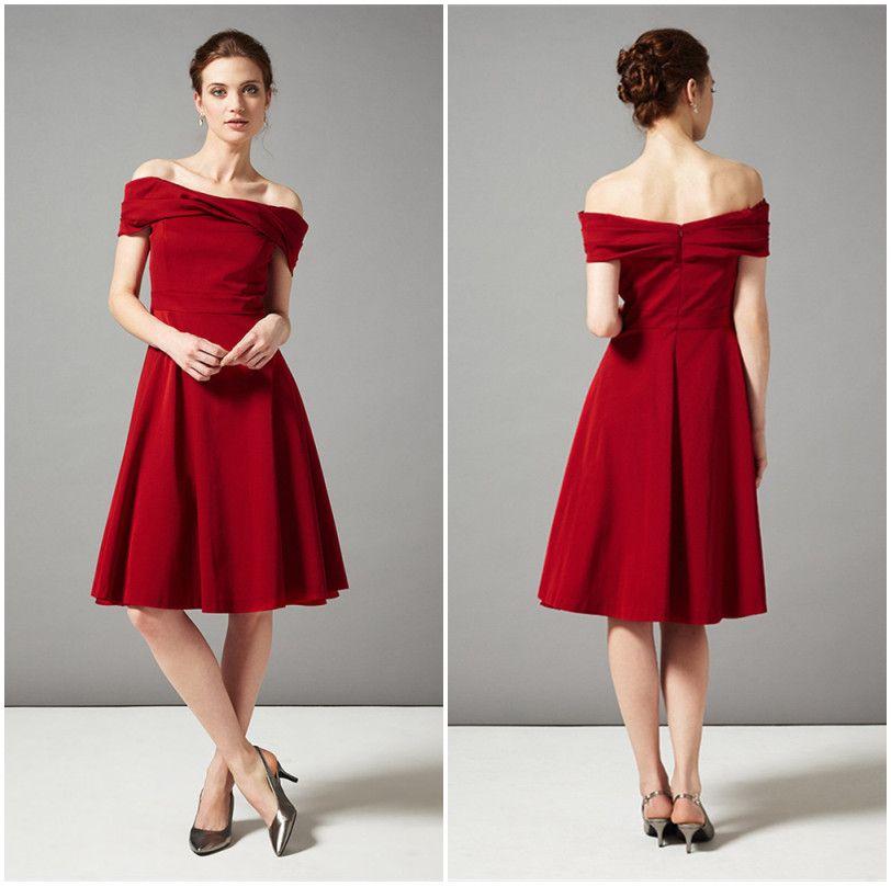 Rot Abendkleid Einfache Boot-ausschnitt Mit Backless Short Prom ...