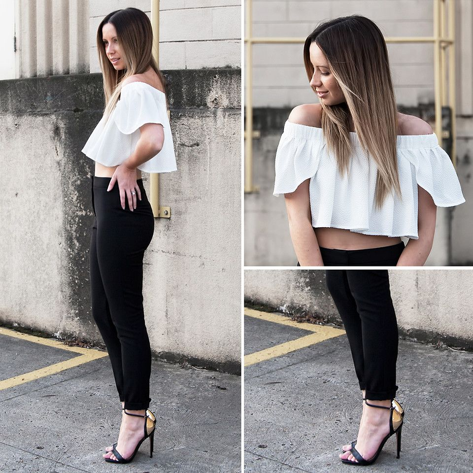 Off The Shoulder Top, High Waisted Pants by Friend in Fashion